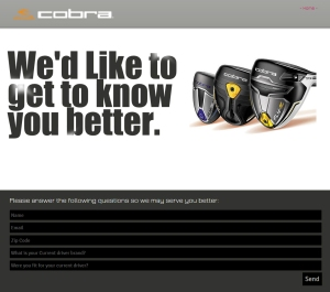Cobra Golf Data Capture Landing Page